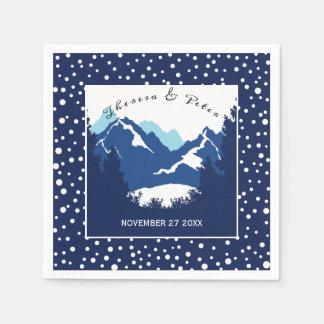 Blue, white mountains and polka dots wedding disposable napkins