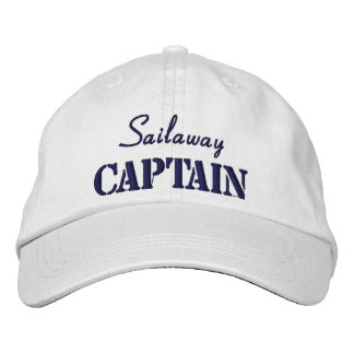 Blue White Nautical Captain Custom Embroidered Hat