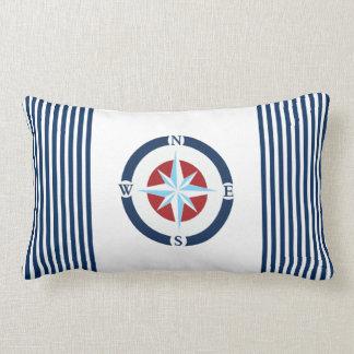 Blue White Nautical Compass Stripes Lumbar Cushion