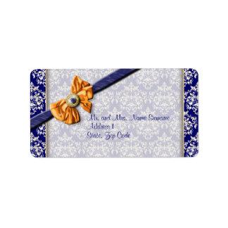 Blue white orange damask elegant #2 address label