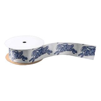 Blue & White Oriental Rabbit Designer Ribbon Spool Satin Ribbon