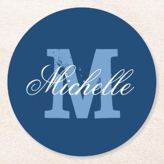 Blue & white personalized monogram paper coasters