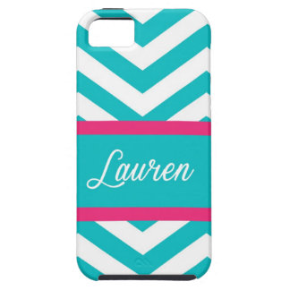 Blue, White, & Pink Chevron Stripe Case For The iPhone 5