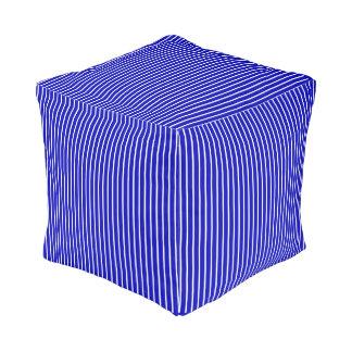Blue White Pinstripe Pouf