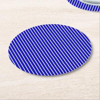 Blue White Pinstripe Round Paper Coaster