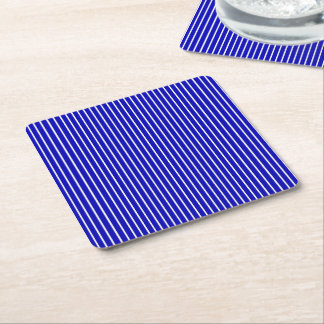 Blue White Pinstripe Square Paper Coaster