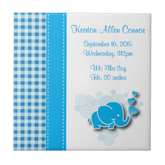 Blue & White Plaid Baby Elephant Birth Information Ceramic Tile