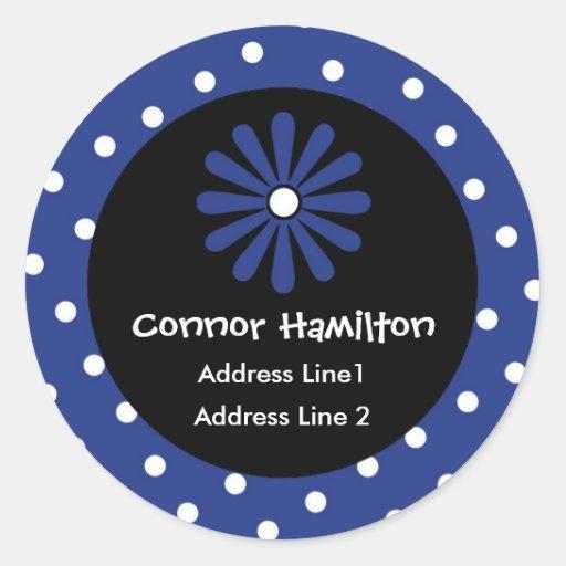 Blue & White Polka Dot Address Labels Stickers