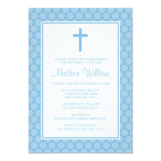 Blue White Polka Dot Cross Boy Baptism Christening Card