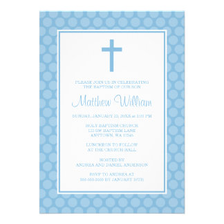 Blue White Polka Dot Cross Boy Baptism Christening Personalized Invitations