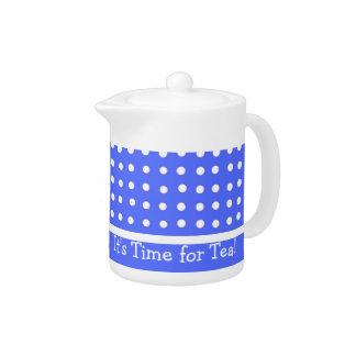 Blue/White Polka Dot Customizable Tea Pot
