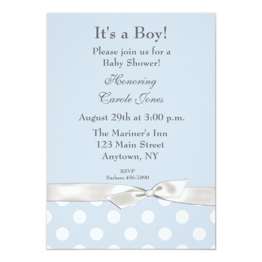 Blue White Polka Dots Invitation