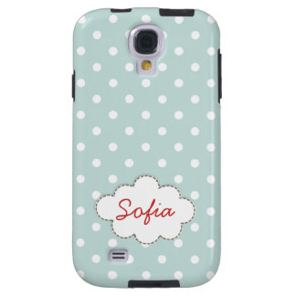 Blue White Polka Dots Personalized Name Cute Galaxy S4 Case