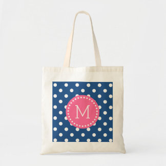 Blue & White Polkadot Pattern Pink Accents Budget Tote Bag