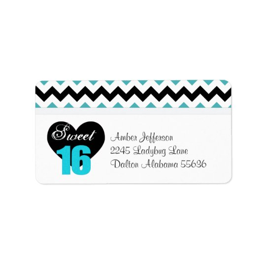 Blue & White Print Sweet 16 Address Labels
