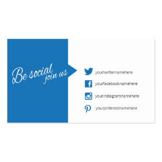 Blue white quote social media business card