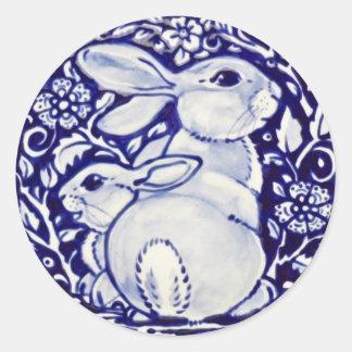 Blue White Rabbit Baby Floral Sticker Dedham Navy