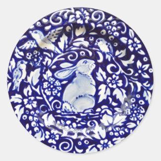 Blue White Rabbit Bird Floral Sticker Dedham Navy