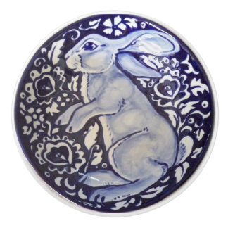 Blue & White Rabbit Bunny Drawer Pull Knob Dedham