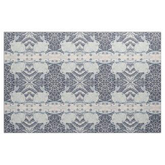 Blue White Rabbit Designer Fabric Winter Christmas