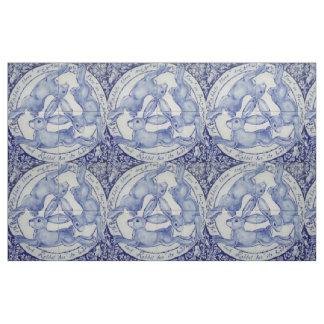 Blue White Rabbit Hare Bird Trio Medallion Fabric