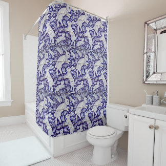 Blue White Rabbit Paisley Designer Shower Curtain