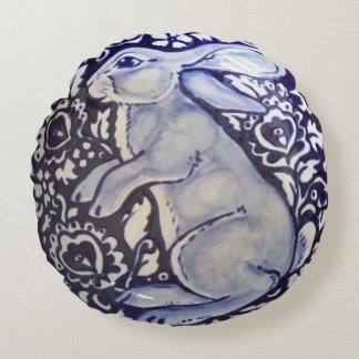Blue & White Rabbit Pillow Porcelain China Indigo