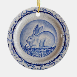 "Blue & White Rabbit Pottery Ornament,""Dedham Blue"" Round Ceramic Decoration"