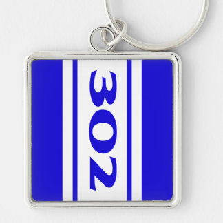 Blue White Racing Stripes 302 Motor Size Keychain Key Chain