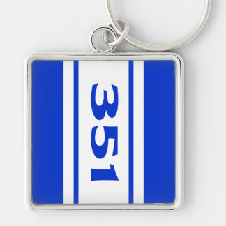 Blue White Racing Stripes 351 Motor Size Keychain Keychains