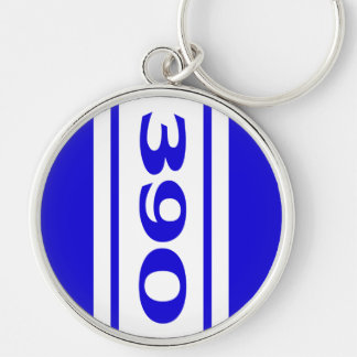 Blue White Racing Stripes 390 Motor Size Keychain