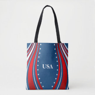 Blue White Red American Flag Tote Bag