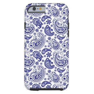 Blue & White Retro Paisley Ham Pattern Tough iPhone 6 Case
