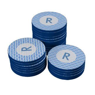 Blue White Retro Pattern Set Of Poker Chips