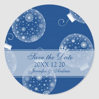 Blue White Save the Date Winter Wedding Stickers