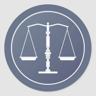Blue White Scales of Justice | Lawyer Classic Round Sticker