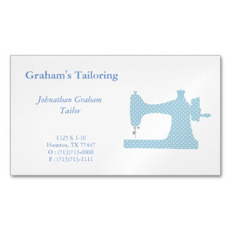 Blue & White Sewing Machine Business Card Magnet Magnetic Business Cards