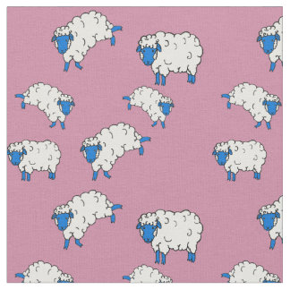 Blue/white sheep/little lambs on pink 2 fabric