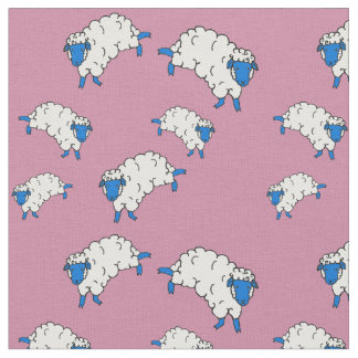 Blue/white sheep/little lambs on pink fabric