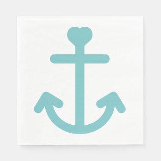 Blue & White Ship Anchor Nautical Wedding / Party Disposable Napkins