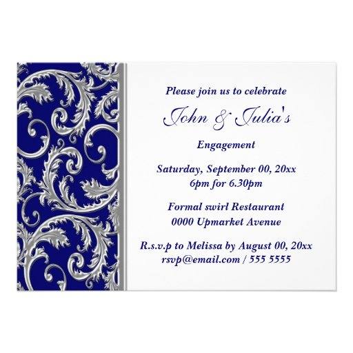 Blue white silver engagement anniversary CUSTOM Cards