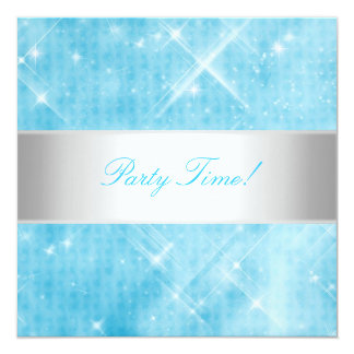 Blue White Silver Lights Party 13 Cm X 13 Cm Square Invitation Card