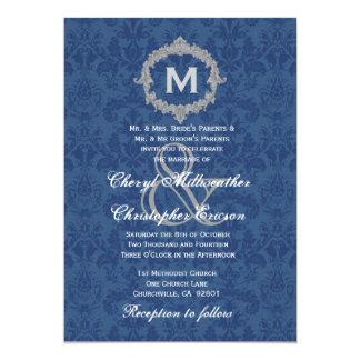 "Blue White Silver Vintage Monogram Wedding V013 5"" X 7"" Invitation Card"