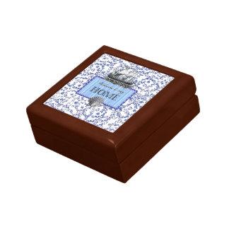 blue & white small box small square gift box