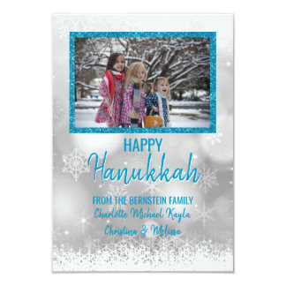 Blue White Snow HAPPY HANUKKAH | Add PHOTO Card