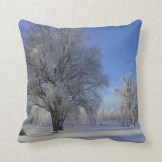 Blue White Snow Tree Throw Pillow