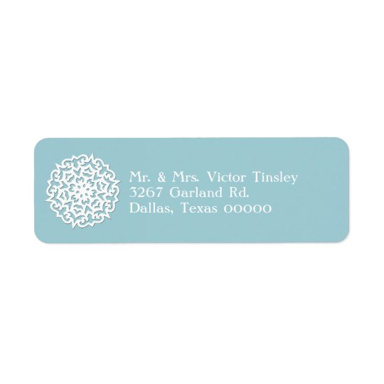 Blue & White Snowflake Custom Return Address Label
