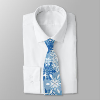 Blue white snowflake pattern Holiday tie