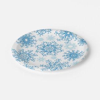 Blue white snowflake pattern party paper plates
