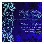Blue/White Snowflake Swirl Sweet16 Birthday Invite